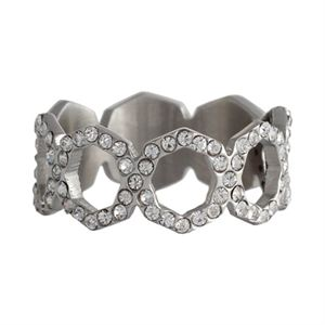 Picture of Silver with Crystals Octagonal Ring - Size 7